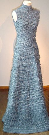 WOW! what a dress! -- Frayed stitched denim??  Picture only