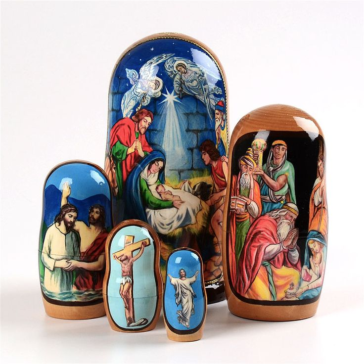 5 Piece Nativity Nesting Doll Russian Christmas