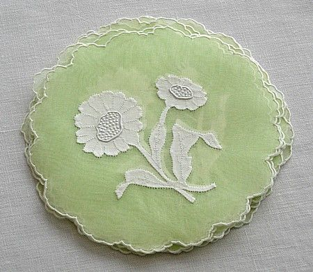 Em's Heart Antique Linens -Vintage Organdy Cocktail Napkins