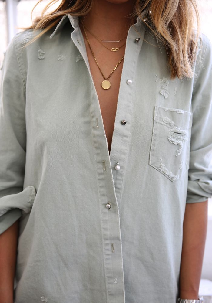 Layered necklaces, Rachel Comey sage green lightweight denim army button up with contrasting buttons | Sincerely Jules-April 2015