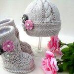Örgü bebek patik ve bere örneği #crochet #baby #booties #knit #knitting #örgü #patik #hat