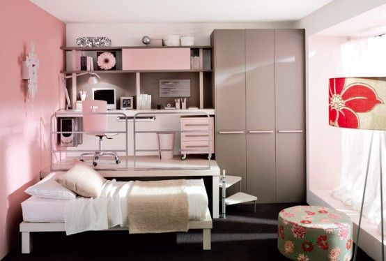 i love this is if i was to have a girl. i think the little loft things are so cool and i wnat my kids to have a desk in their room to do their homework on because i never had one. hahah