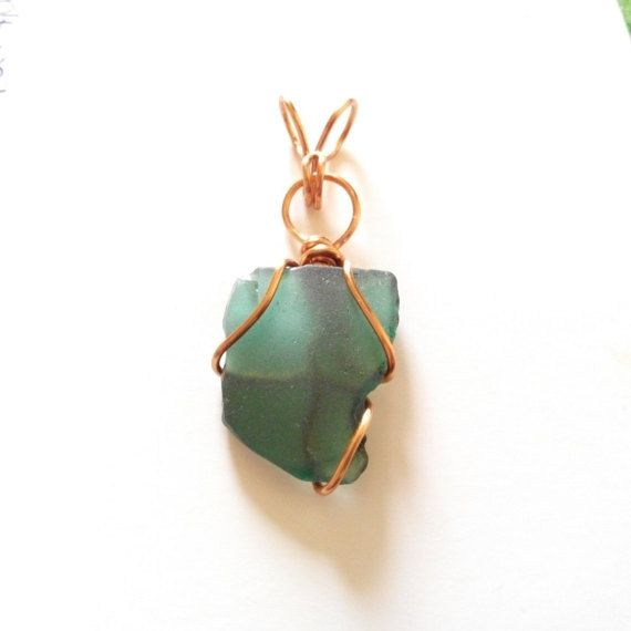 Genuine Irish sea glass pendant teal blue green copper by terramor