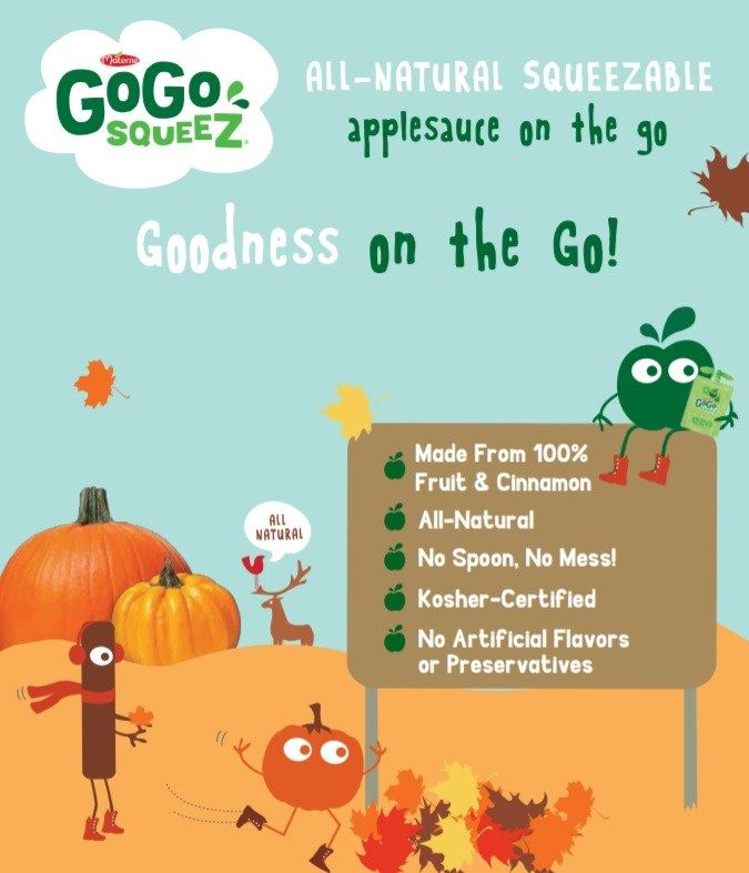 GoGo squeeZ Apple Pumpkin Spice applesauce pouches are here! For spooky games, Halloween party tips, and fun activities download a free Trick or squeeZ Kit.