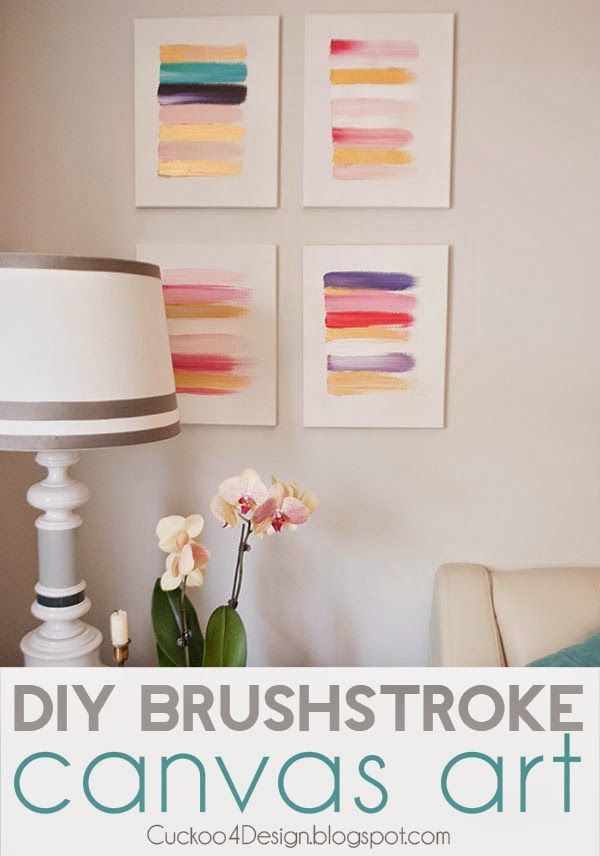 DIY brush stroke art - simple to do, and will tie together any colors in the room with the art on the walls. What a great way to bring a color palette together!