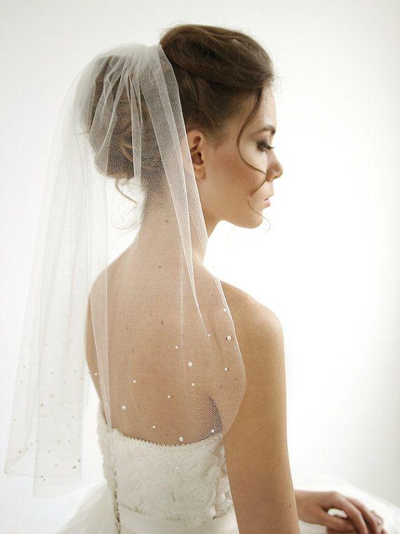 Pearls silk tulle wedding veil 1/ single tier by HoneyPieBridal