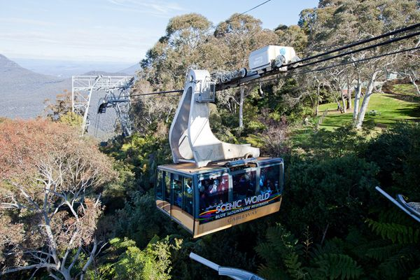 The Scenic Cableway carries passengers out of the Jamison Valley, Katoomba in the Blue Mountains