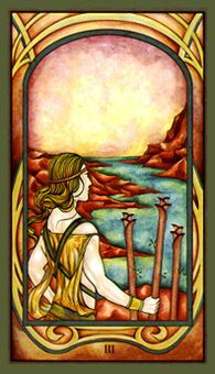 June 23 Tarot Card: Three of Wands (Fenestra deck) Explore, read, travel, and think big. There's so much potential for you to take your life in a grand new direction now
