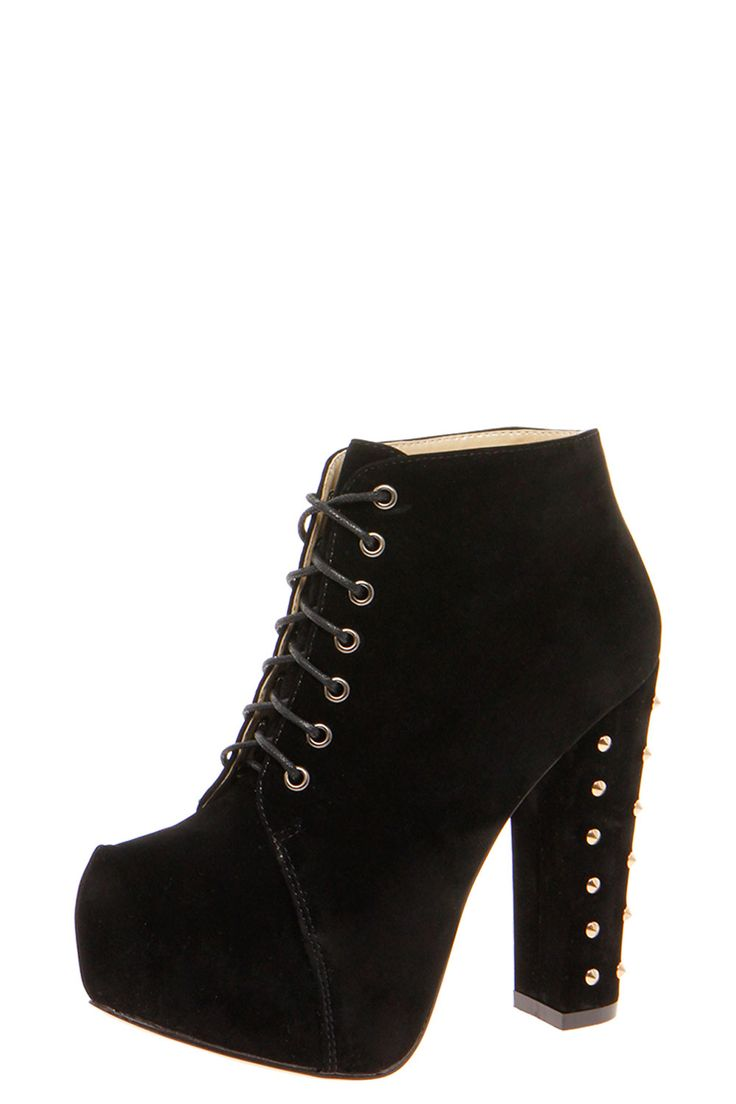 Block Heel Lace Up Shoe Boots