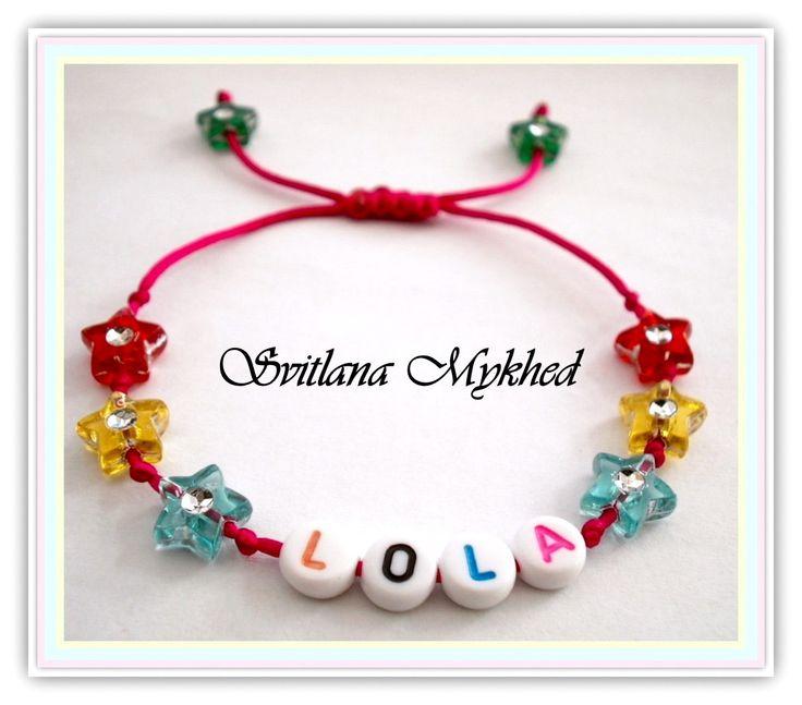 bracelet nom prnom message personnalisable perles acryliques toiles multicolores bracelet - Ide Chanson Personnalise Mariage