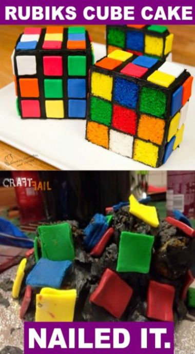 Okay, raise your hands if you've tried Rubik's Cube and ended up wanting to turn it into something like the bottom cake, eh?