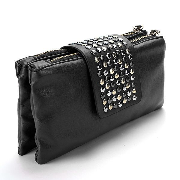 lederen tas vrouwen designer mode klinknagel portemonnee portemonnee portemonnee zakken koppelingen  $5.99 (free shipping)