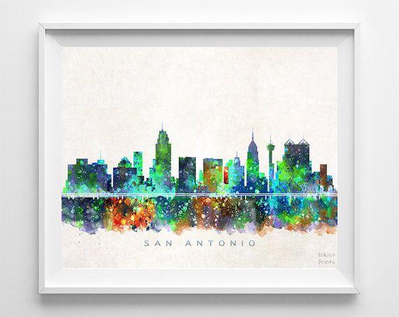 San Antonio Skyline Print Texas Poster Texas Wall by InkistPrints