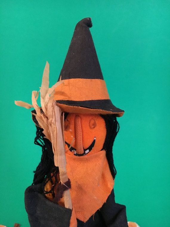 halloween vintage smiling witch holding a broom by giddies on etsy - Vintage Halloween Witches