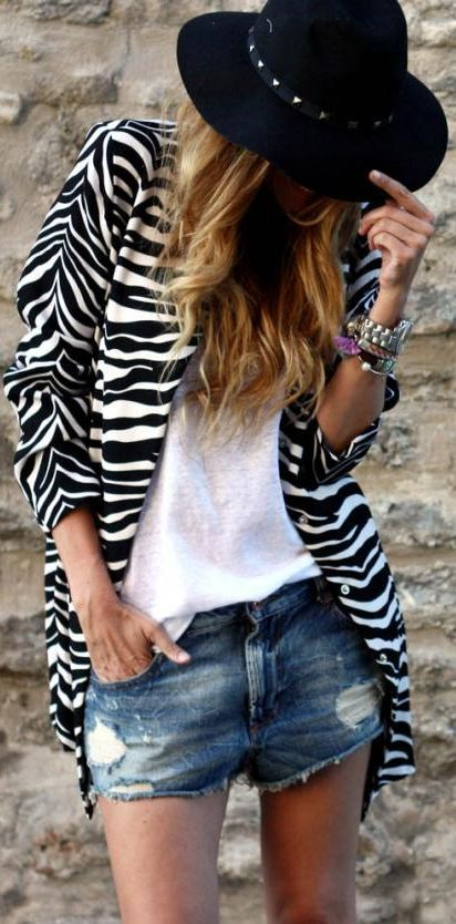 Choies Black & White Zebra Print Long Line Women's Coat