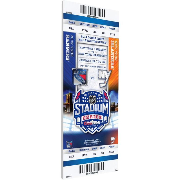 That's My Ticket 2014 Stadium Series New York Rangers v. New York Islanders Game Ticket, Team