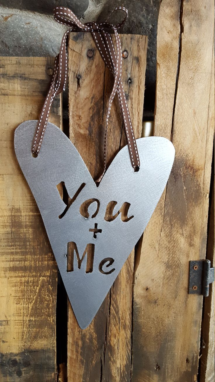 You + Me Sign, Heart Sign, Metal Heart, Metal sign, Valentines Day Decor, Heart Decor, Rustic Hearts, Rustic Valentine Sign, Wedding Signs by CharaWorks on Etsy