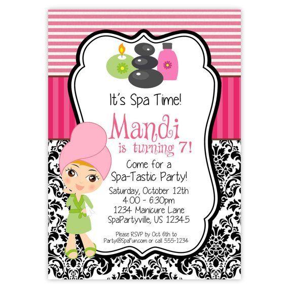 59 best images about Spa Party – Little Girl Spa Party Invitations