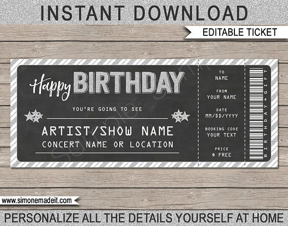 Printable Concert Ticket Gift Gift Voucher Certificate Fake