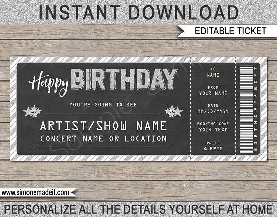 printable concert ticket gift gift voucher certificate. Black Bedroom Furniture Sets. Home Design Ideas