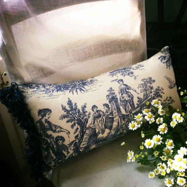 Lovely indigo blue Toile lumber cushion with chenille side trim .