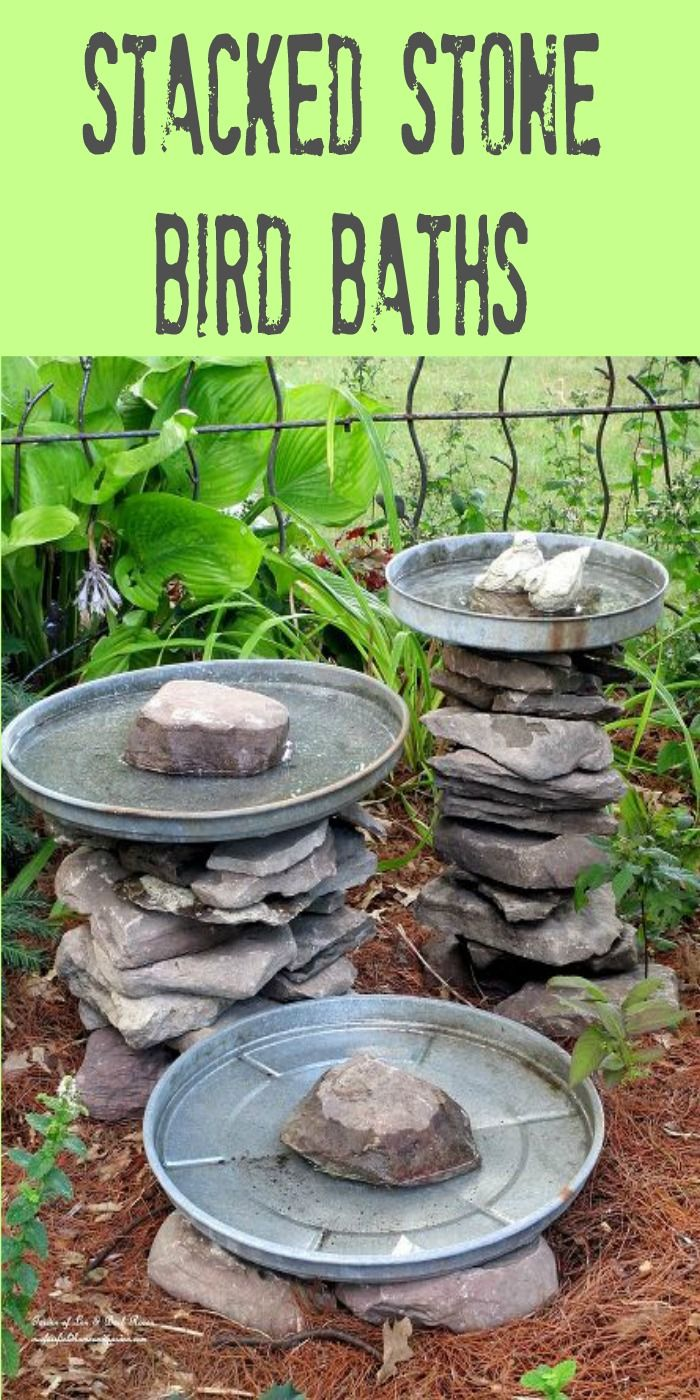 Stacked stone bird baths using items you have on hand
