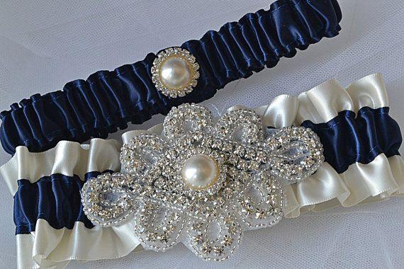 Wedding Garter Set - Navy Blue Garters And Ivory Satin With Rhinestone Embellishments, Garter Belts, Bridal Garter Set