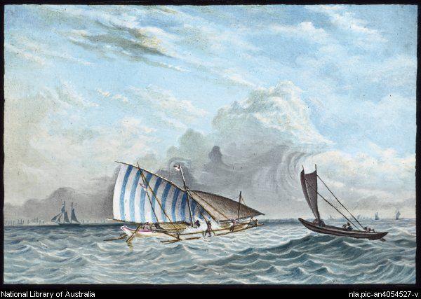 Thomas Baines Malay trading proa in the Straits of Madura near Java