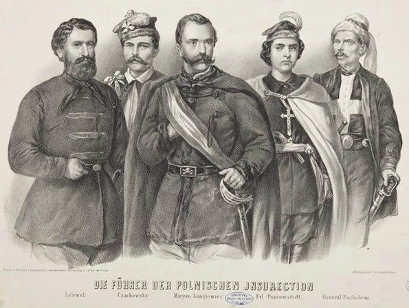 """Powstanie styczniowe - przywódcy: Marcin Borelowski """"Lelewel"""" (1829-1863), Dionizy Czachowski (1810-1863), Marian Langiewicz (1827-1887), Anna Henryka Pustowójtówna (1838-1881), François Rochebrune (1830-1870) (fot. muzeum.krakow.pl)"""