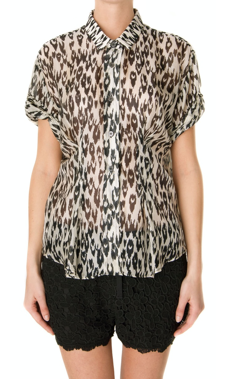 Sea NY Pintucked Button Up Leopard Print Shirt