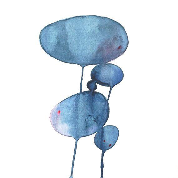 original modern minimalist watercolor painting  blue by AETHERart, $20.00