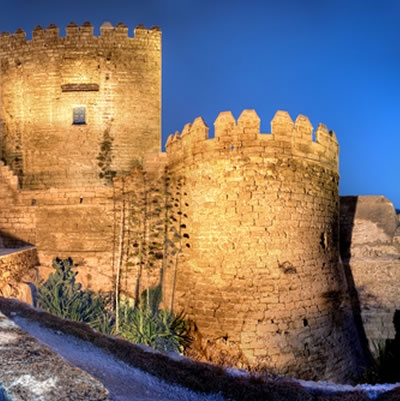 Almeria Alcazaba by night