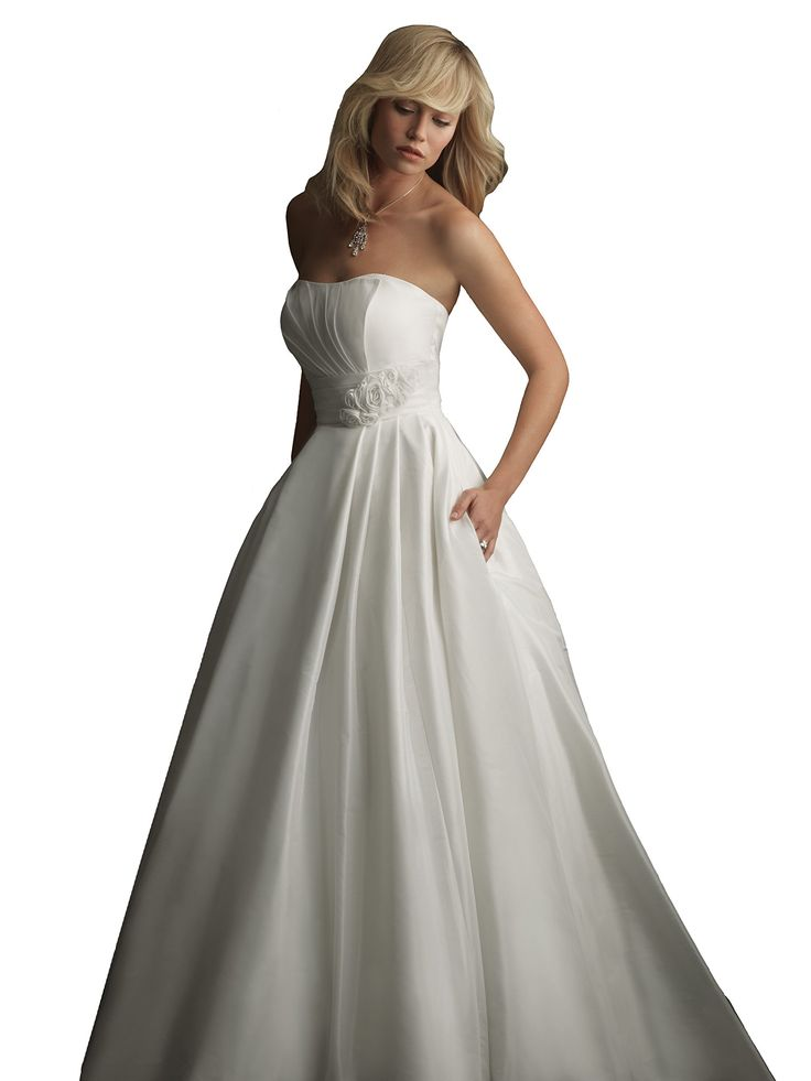 """Wedding Dress Simple Cheap Bridal Gown Allure Bridals 8771 - White, size 10. Authentic Allure Bridals Dress - Style: 8771. Size 10 = 36.5"""" bust, 28"""" waist, 40"""" hips. Strapless, Sweetheart Neckline; Pleated. Pleated Natural Waist Band; Rosettes; Mid Zip Back; Buttons. Full Ball Gown Skirt; Pleats; Pockets; Taffeta; White."""