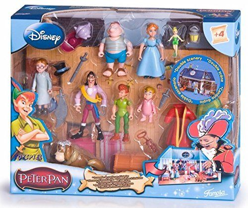 Peter Pan Figure Set Featuring Poseable Captain Hook, Smee, Wendy Darling, Peter Pan, Tinker Bell, John Darling, Nana, Michael Darling, Treasure Chest with Double Scenery and Other Accessories