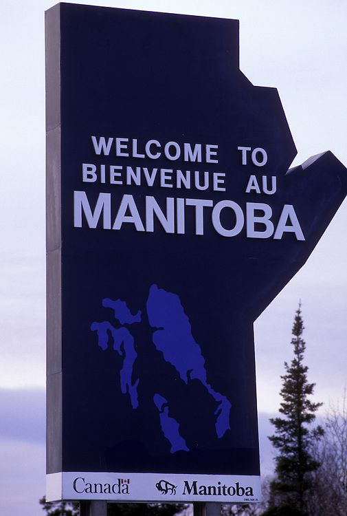 Canada, Ontario, WELCOME TO MANITOBA sign along Trans-Canada Highway. Photo © Paul Souders | WorldFoto