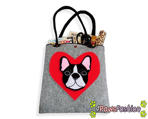 French Buldog Felt Tote. Handmade Shoulder Bag. Long Handles. Dog Design. Everyday use.Frenchie Love. 4PawsFashion