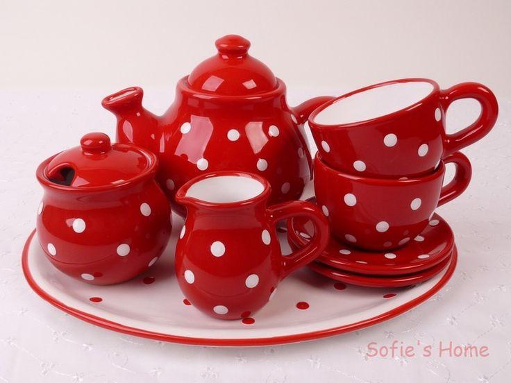 #RotePunkteKaffeeservice handmade von Sofie's Home #RedWhitepolkadotshandmadeCoffeeservice  Landhaus Rote  Punkte  Kaffeeservice handmade von Sofie's Home auf DaWanda.comRed White polka dots #handmadeCoffeeservice
