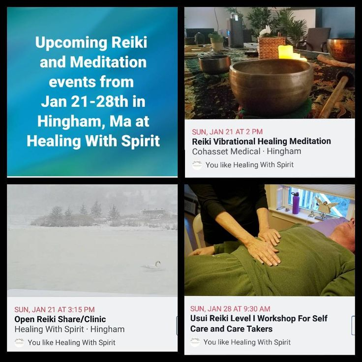 """Upcoming #reiki and #meditation events at Healing With Spirit in #Hingham: . . 💙 Sun, 1/21 2pm…"""""""
