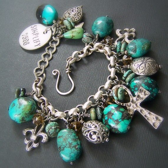 Turquoise Charm Bracelet...£o¥€! This is the only type of charm bracelet I would have!      SO ME!