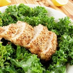 Kale Caesar Salad with Almond-Crusted Chicken