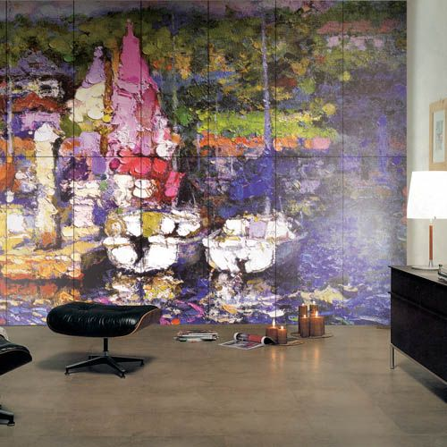 A lounge featuring one of our amazing Art tiles - choose any image you want and create a personalised look.  #2017 #amazing #tiles