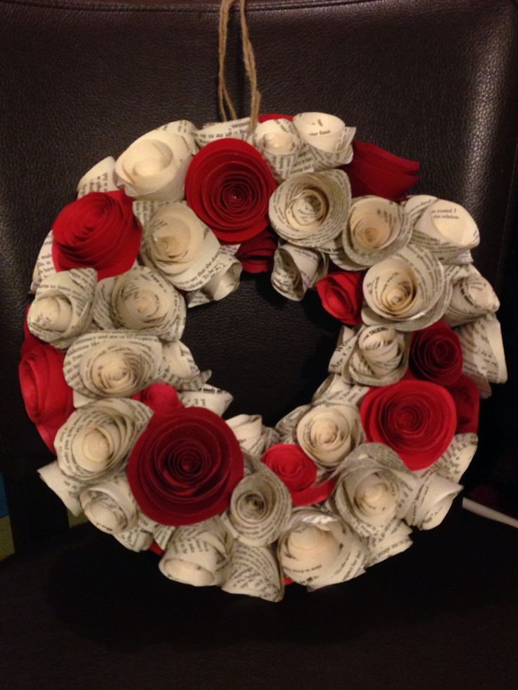Red and book paper wreath
