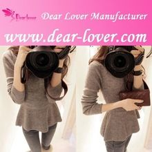 Grey Long-sleeve Flared Peplum Style Wool Women Sweater Top  Best Seller follow this link http://shopingayo.space