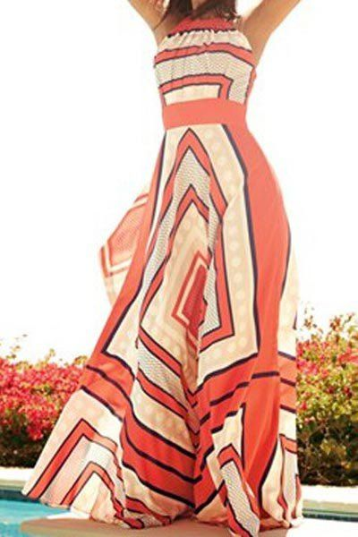 Paisely Print Fashionable Round Collar Sleeveless Maxi Dress For Women