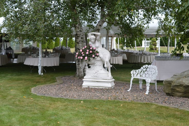 A beautiful rock garden welcomes the guests as they enter the tent.