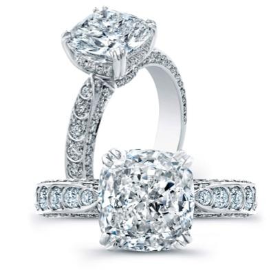 Harry Kotlar Kotlar Cushion Diamond Solitaire Arabesque Necklace - 16 qsF3YM