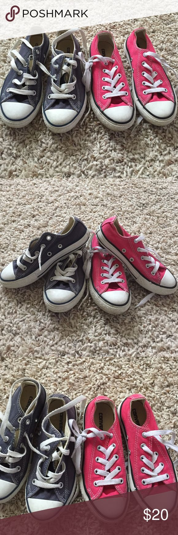 Kids Converse sneaker shoe lot 2 pairs sz 12 12.5 Two pairs of kids Converse sneakers in sizes 12 & 12.5 shows some wear but have a lot of life left in them Converse Shoes Sneakers