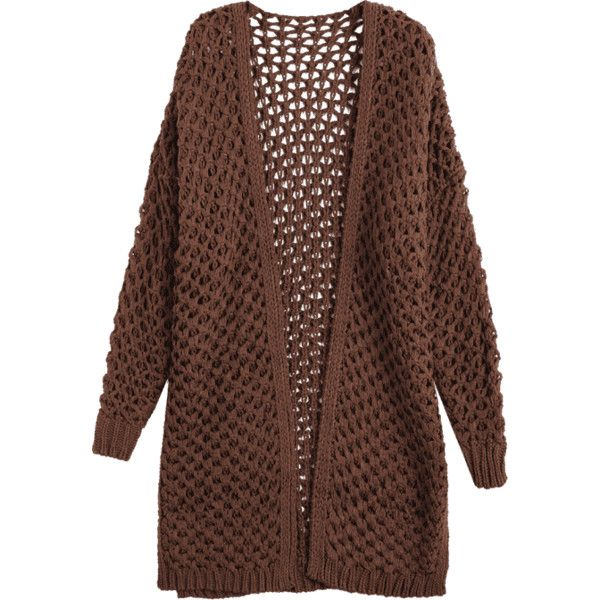Cut Out Open Front Cardigan Coffee (88 BRL) ❤ liked on Polyvore featuring tops, cardigans, brown cardi, cutout tops, cut out top, brown cardigan and open cardigan