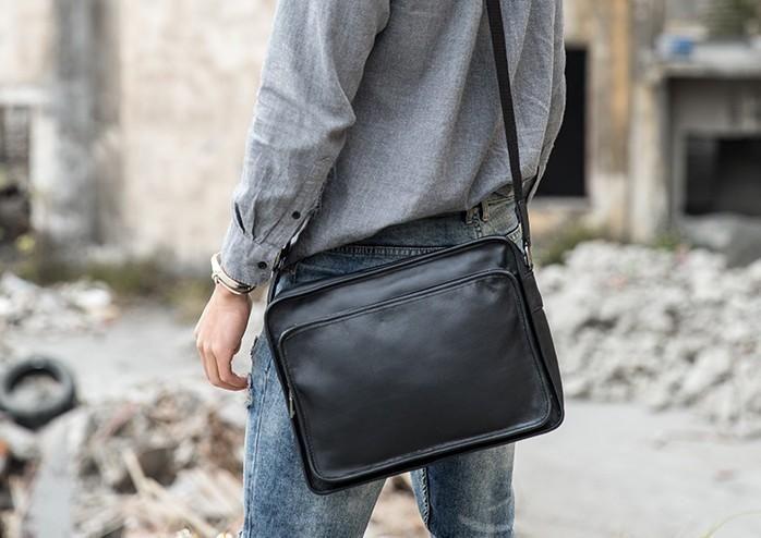 Black Cool Leather Mens Shoulder Bags Messenger Bags for Men – iwalletsmen 2c0622fb34