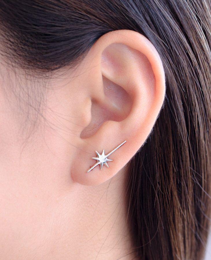 Falling Star Ear Cuff, Sterling Silver, Edgy Pin Earrings, Striking Star Ear Wrap, Minimalistic, Modern Jewelry, Gift, ECF015 by lunaijewelry on Etsy https://www.etsy.com/listing/236693558/falling-star-ear-cuff-sterling-silver